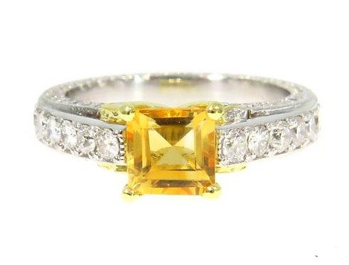 Diamond Citrine Gemstone Ring