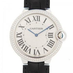 Cartier Ballon Bleu Silver Dial Alligator Leather Diamond Men