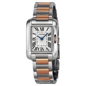 Cartier Tank Anglaise Small Silver Dial Rose Gold and Stainless Steel Ladies