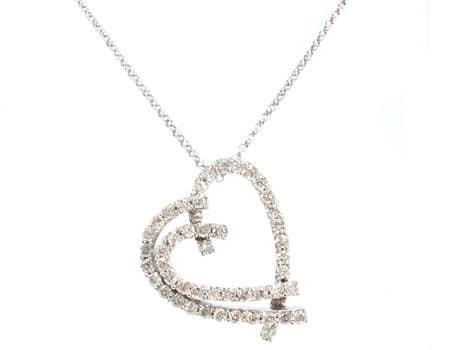 Asymmetrical Heart Pendant & Chain