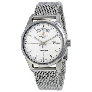 Breitling transocean day date automatic silver dial mens watch