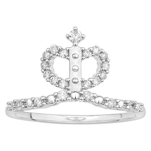 14K Solid Gold 0.24ctw Diamond Crown