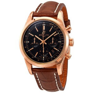 Breitling Transocean Black Dial Automatic Men's 18kt Rose Gold Chronograph