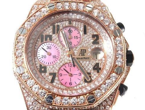 18Kt Rose Gold Full Diamond Audemars Piguet Royal Oak Offshore Watch 38.75ct
