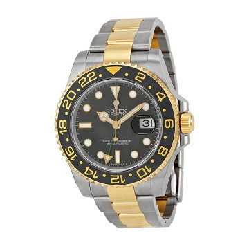 Rolex GMT-Master II Black Dial Stainless Steel and 18kt Yellow Gold Oyster Brace