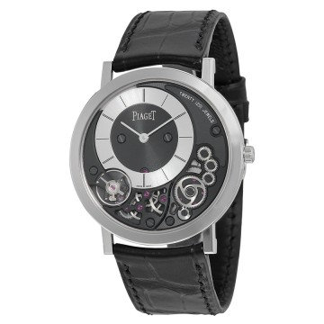 Piaget Altiplano Black and Silver Dial 18kt White Gold Black Leather
