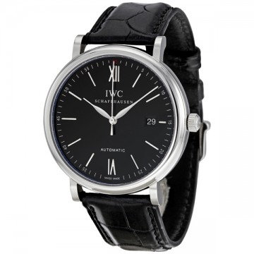 IWC Portofino Automatic Black Dial Black Leather