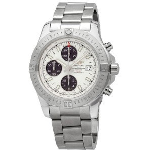 Breitling colt volcano silver dial automatic mens chronograph watch