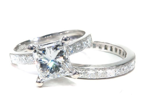 Invisible Diamond Engagement Ring Set