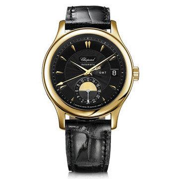 CHOPARD L.U.C Classic GMT Black Dial Black Leather Men