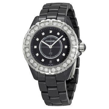 CHANEL J12 Diamond Dial Black Ceramic Quartz Unisex