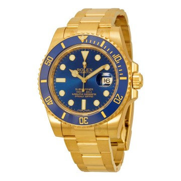 Rolex Submariner Blue Dial 18K Yellow Gold Oyster