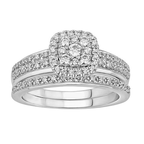 14K Solid Gold 0.52ctw Diamond Bridal Set