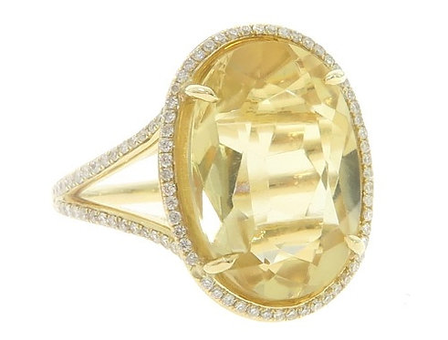 Citrine Diamond Anniversary Ring