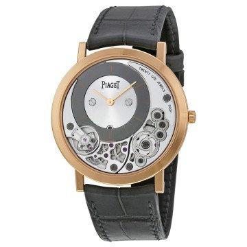 Piaget Altiplano Silver and Black Skeleton Dial 18kt Rose Gold Gray