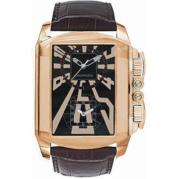 CHOPARD Dual Time Zone Black Dial Rose Gold Leather Men