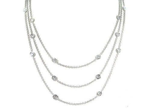 Three Layers Bezel Diamond Necklace