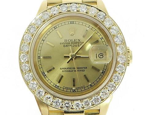 Diamond Rolex Datejust Lady Yellow Gold Watch 56565 2.50ct