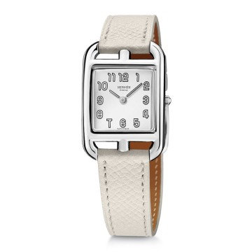Hermes Cape Cod Silver Dial White Leather Ladies