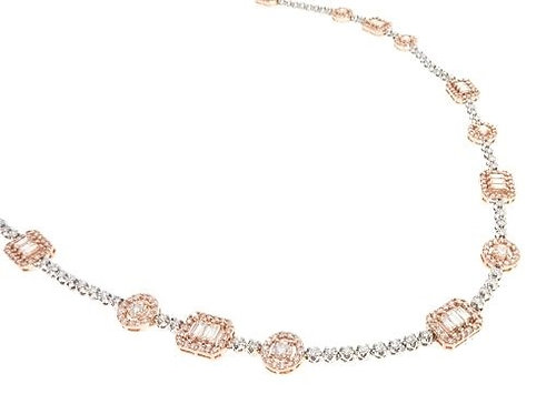 Two Tone Rose and White Gold Diamond Chain