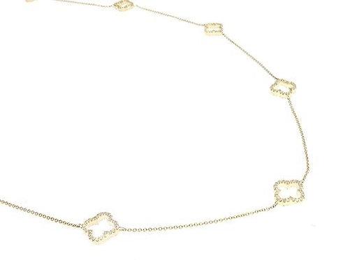 Clover Link Prong Diamond Necklace