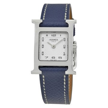 Hermes H Hour Ladies Blue Grained Leather