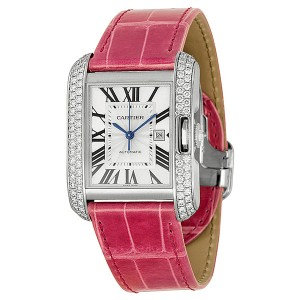 Cartier Tank Anglaise Large 18k White Gold Diamond Bezel Pink Leather