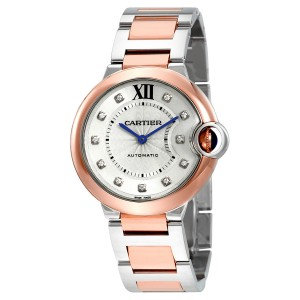 Cartier Ballon Bleu Silver Diamond Dial Steel and 18K Pink Gold Ladies