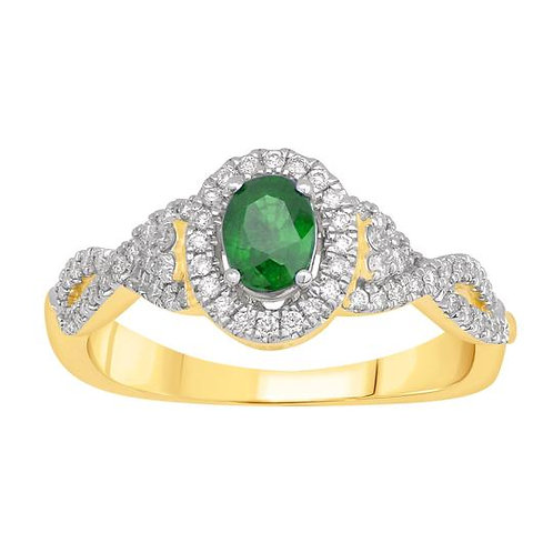 14K Solid Gold 0.64ctw Emerald & Diamond Oval Halo
