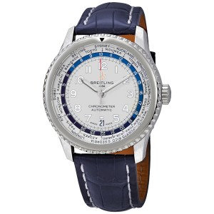 Breitling Navitimer 8 unitime automatic silver dial mens watch