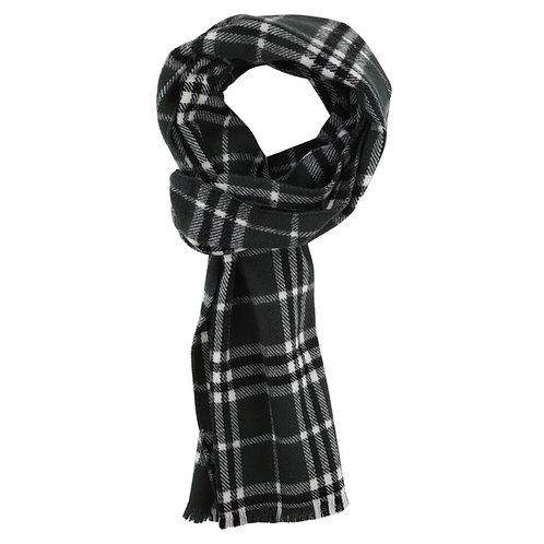 ESSENTIELE MEN  GREY & WHITE SCOTTISH CHECK WOOL FEEL WINTER MUFFLER