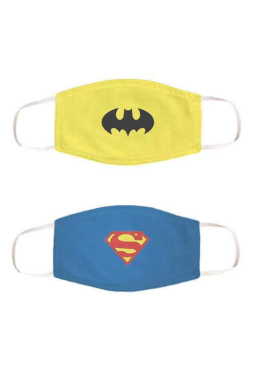 ESSENTIELE SUPER MAN - BATMAN KIDS REUSABLE 2PLY FACE MASK ( PACK OF 2 )