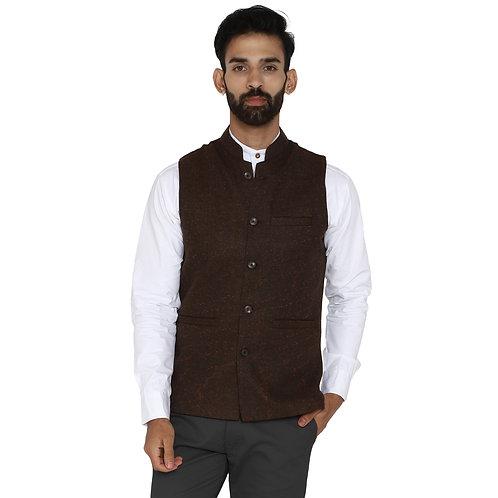 ESSENTIELE Men's Coffee Brown Herring Bone Wool Tweed Ethnic Nehru Jacket
