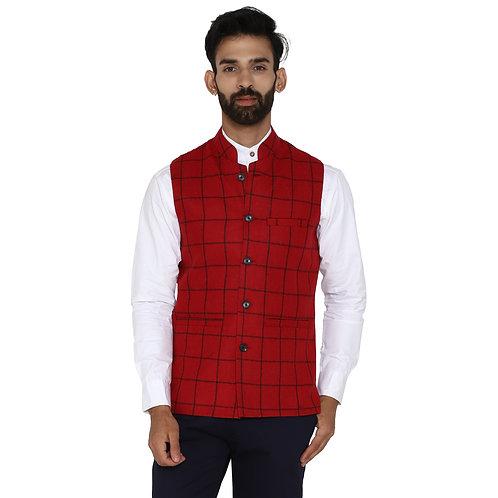 ESSENTIELE Men's RED BLACK Checkered Wool Tweed Bandhgala Ethnic Nehru Jacket