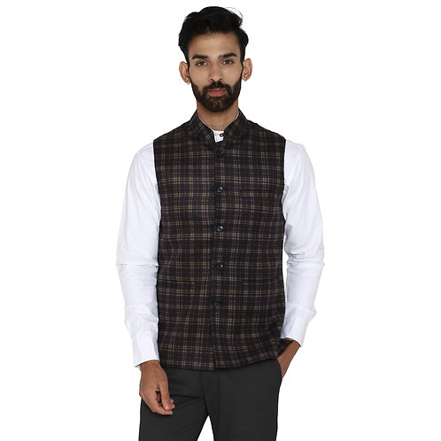 ESSENTIELE Men's Tweed Navy Blue Beige Check Wool Bandhgala Ethnic Nehru Jacket
