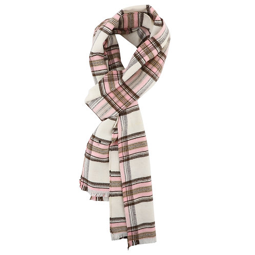 ESSENTIELE MEN SCOTTISH CHECK ONION PINK -OFF WHITE WOOL TOUCH WINTER MUFFLER