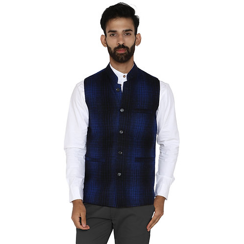 ESSENTIELE Men's Blue Black Macmillan Dress Checkered Wool Ethnic Nehru Jacket