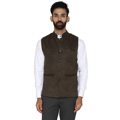 ESSENTIELE Men's Solid Olive Suede Bandhgala Ethnic Nehru Jacket