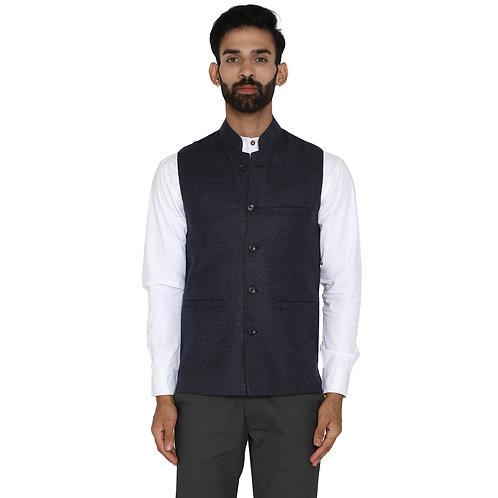 ESSENTIELE Men's Textured Tweed Air Force Blue Wool Ethnic Nehru Jacket
