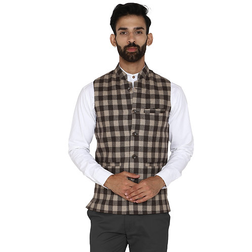 ESSENTIELE Men's Coffee Brown Gingham Check Wool Tweed Ethnic Nehru Jacket