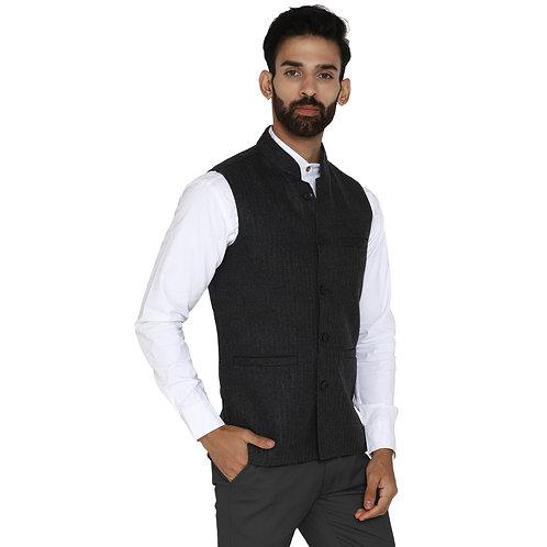 ESSENTIELE Men's Grey Dobby Striped Woollen Tweed Bandhgala Ethnic Nehru Jacket