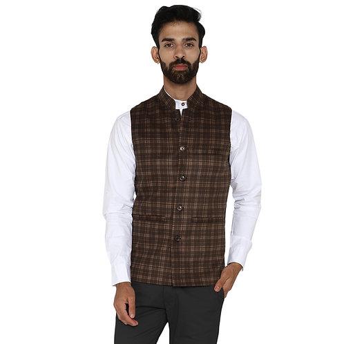 ESSENTIELE Men's Olive Green Beige Checkered Wool Bandhgala Ethnic Nehru Jacket
