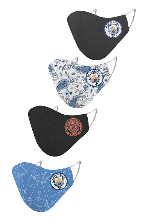 ESSENTIELE MANCHESTER CITY H/A/T/G 20/21 2PLY REUSABLE FACE MASK (PACK OF 4)