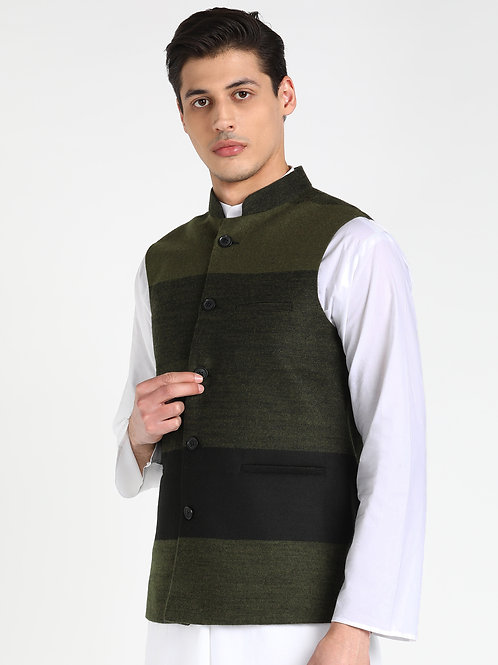 ESSENTIELE OLIVE BLACK STRIPED WOOLEN NEHRU JACKET
