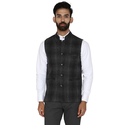 Men's Black Grey Checkered Wool Bandhgala Ethnic Nehru Jacket