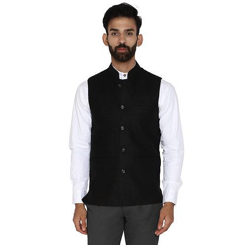 Essentiele Pencil Black Woolen Tweed Nehru Jacket