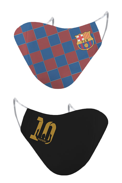 ESSENTIELE FC BARCELONA LIONEL MESSI EDITION REUSABLE FACE MASK (PACK OF 2