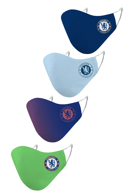ESSENTIELE CHELSEA FC H/A/T/G KIT 20/21 2PLY REUSABLE FACE MASK (PACK OF 4)