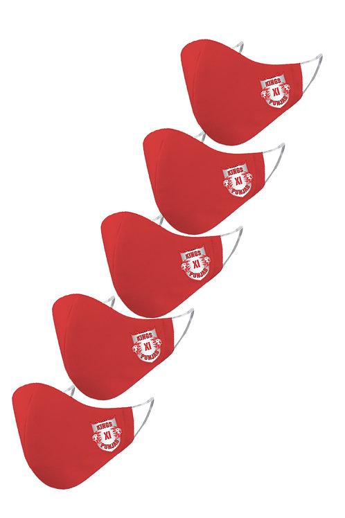 ESSENTIELE IPL KINGS XI PUNJAB Cloth Mask  (Red, Free Size, Pack of 5)