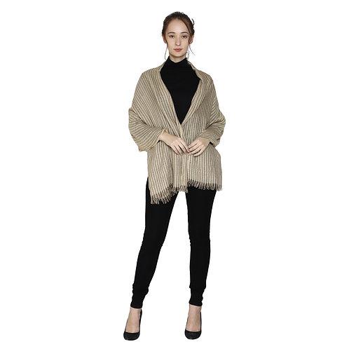 ESSENTIELE Women's Ivory Camel Striped Viscose Cotton Soft Feel Scarf
